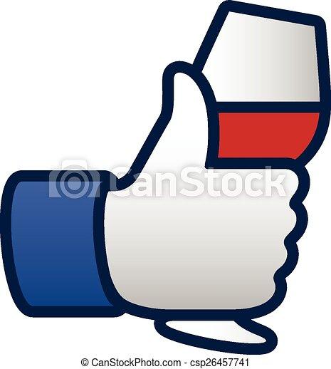 Como los pulgares arriba símbolo icono con una copa de vino tinto - csp26457741