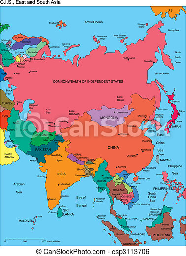 Regional Map Of Asia.Comonwealth Of Independent States Russia And Asia Names