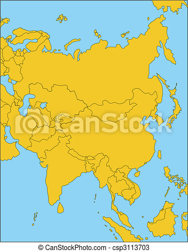 Regional Map Of Asia.Comonwealth Of Independent States Russia And Asia
