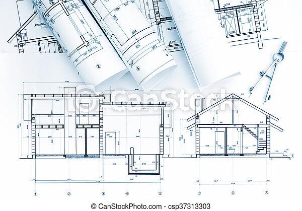 Plano arquitectónico, rollos con brújula de dibujo - csp37313303