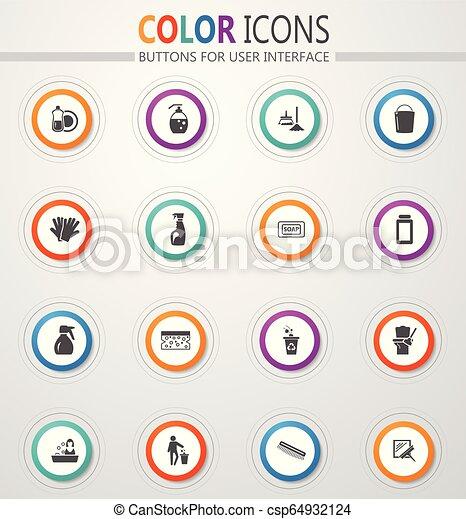 Los iconos de la compañía de limpieza - csp64932124