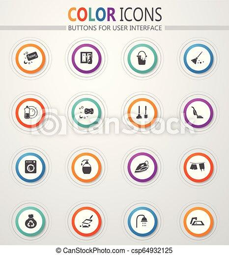 Los iconos de la compañía de limpieza - csp64932125