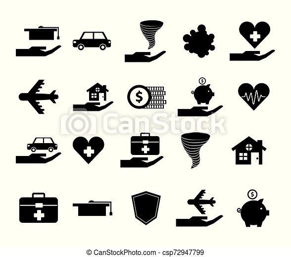 Un montón de iconos de la compañía de seguros - csp72947799