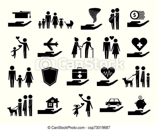 Un montón de iconos de la compañía de seguros - csp73019687
