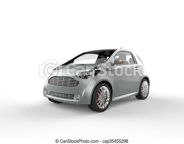 Compact Blue Grey Metallic Car - csp35455298