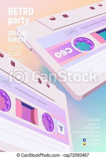 Compact Cassette Poster With Vaporwave Retro 80s Styled Party Invitation Compact Cassette Poster With Vaporwave Blue And