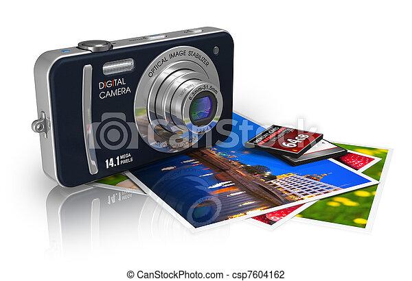 Compact digital camera and photos - csp7604162