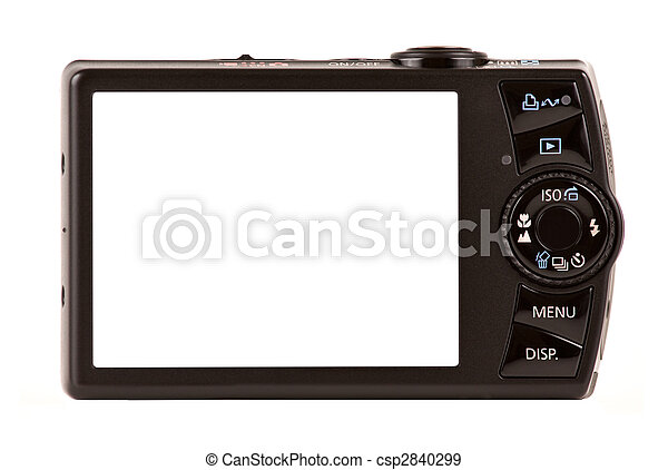 Compact digital camera rear view isolated on white - csp2840299