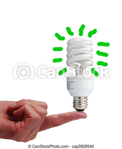 Compact fluorescent bulb on a finger, isolated on white - csp3928540