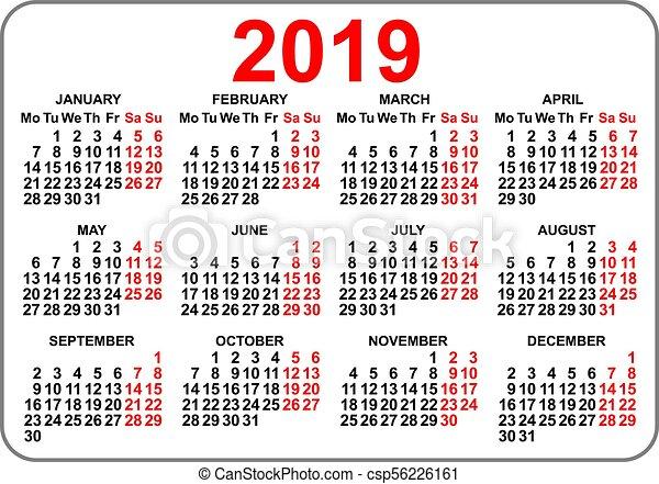Calendrier De Poche 2019.Compact Lundi Poche Grille 2019 Calendrier Jour Premier