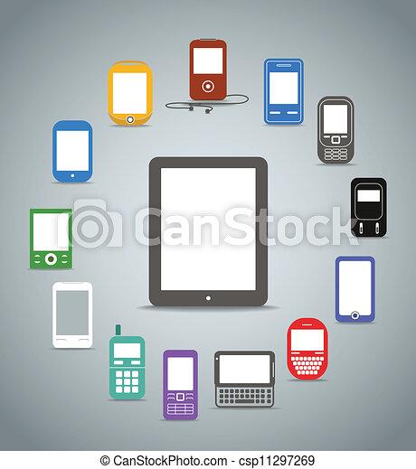 compact, style, mobile, vendange, résumé, moderne, couleur, informatique, téléphones, travers - csp11297269