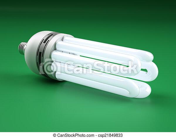Una potente bombilla fluorescente compacta - csp21849833