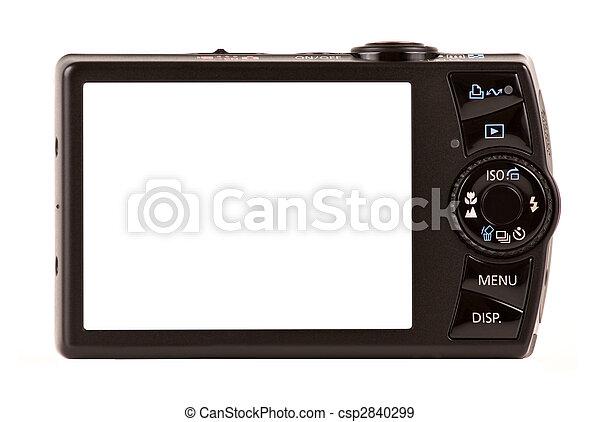compacto, isolado, câmera, digital, branca, vista traseira - csp2840299