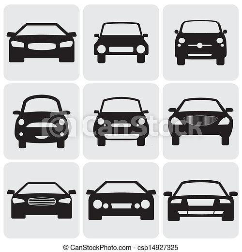 compacto, passageiro, icons(signs), representa, cor, car, graphic., ilustração, contra, símbolos, este, vetorial, pretas, luxo, fundo, nove, frente, view-, branca, car's, lado - csp14927325