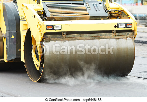 compactor roller at asphalting work - csp6448188