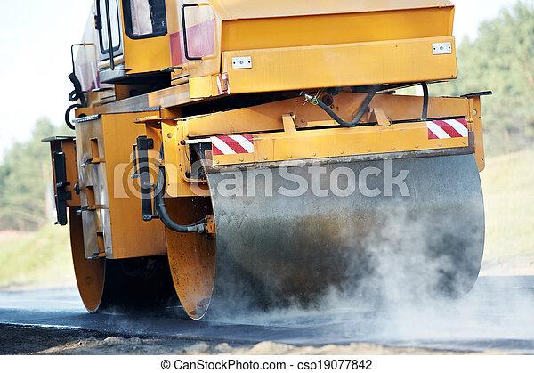 compactor roller at asphalting work - csp19077842