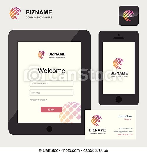 Company app Login interface design in tablet and phone vector - csp58870069