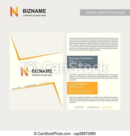 Company brochure with creative design vector with n logo - csp58870980