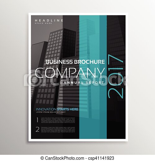 Company business magazine cover template of annual report vector ...