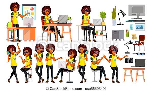 Vector de carácter de mujer negra afroamericana. En acción. Oficina. Compañía de negocios IT. Trabajando elegante chica moderna americana. Varios puntos de vista. Proceso de medio ambiente. Ilustración de dibujos animados - csp56593491