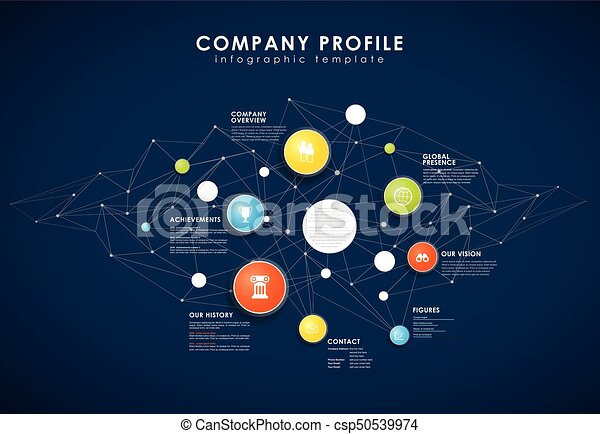 Company Profile Overview Template With Colorful Circles Vectors