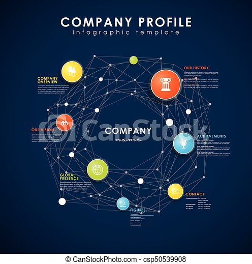 Company profile overview template with colorful circles.