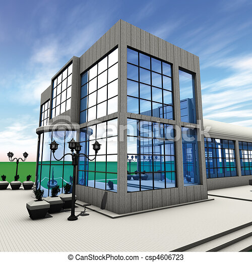 Company side 3d rendering side commercial building for Commercial design companies