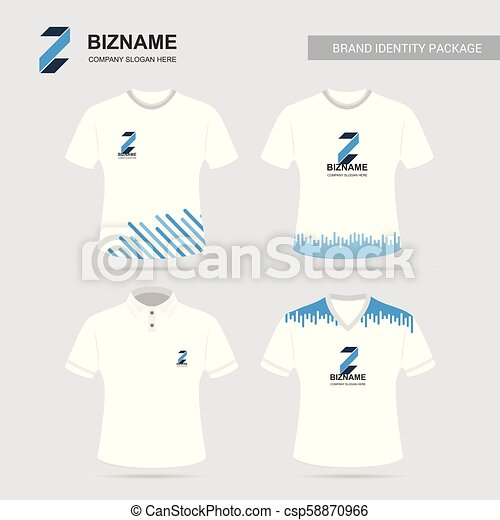Company T shirt design with logo and typography vector - csp58870966