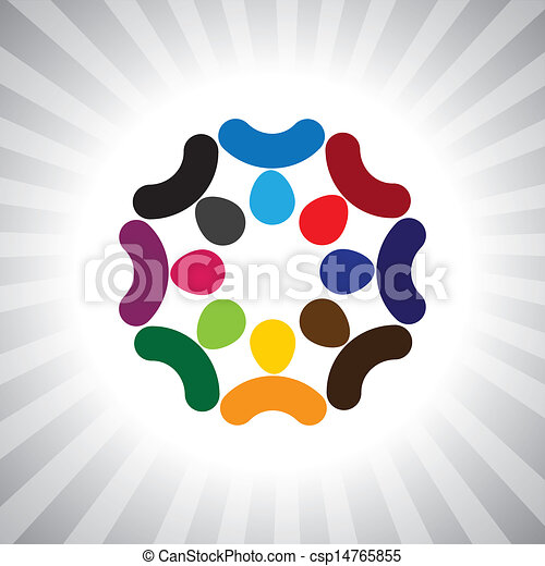 company think tank of executives brainstorming(meeting)- vector graphic. This illustration can also represent children playing,kids having fun,employee meeting,workers unity & diversity, people union - csp14765855