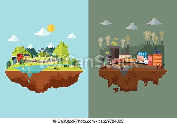 Comparación de ciudad limpia y ciudad contaminada - csp29784823