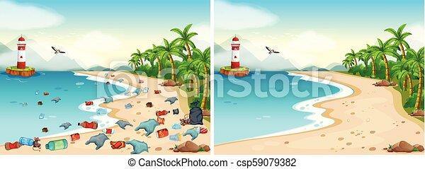 Comparación de playa sucia y limpia - csp59079382