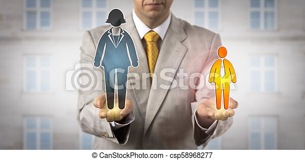 Comparing Small Man With Huge Female Worker - csp58968277