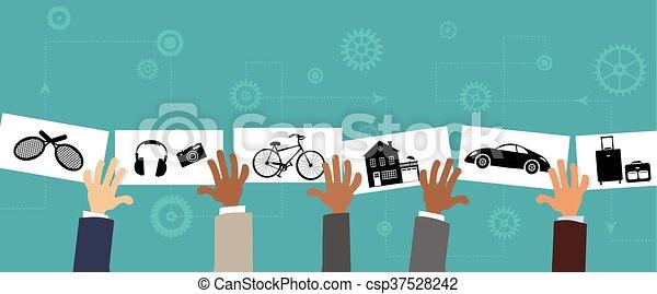 Compartir la economía - csp37528242