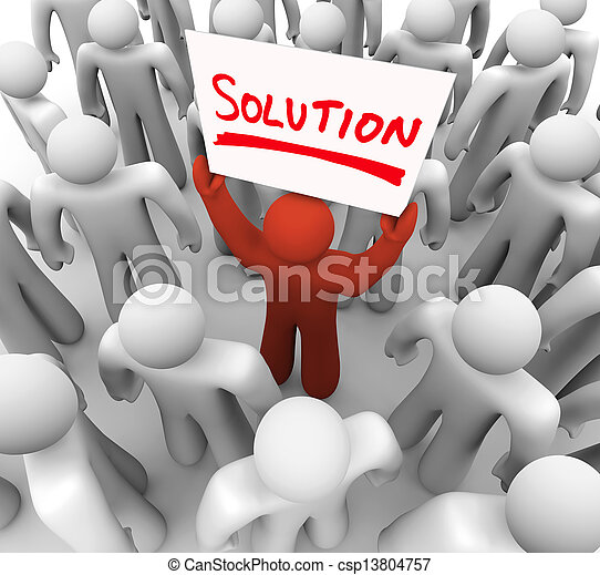 El hombre de las señales de la solución que sostiene el problema - csp13804757