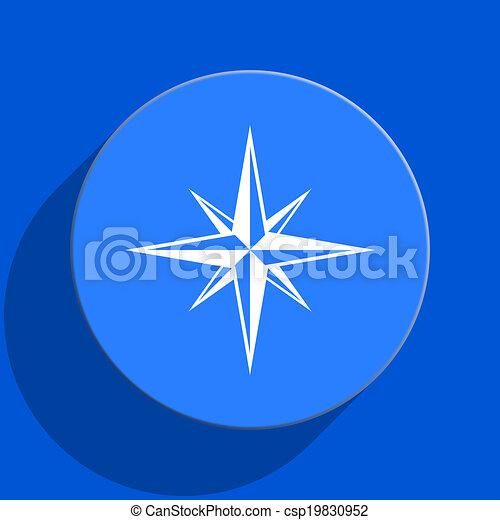 compass blue web flat icon - csp19830952