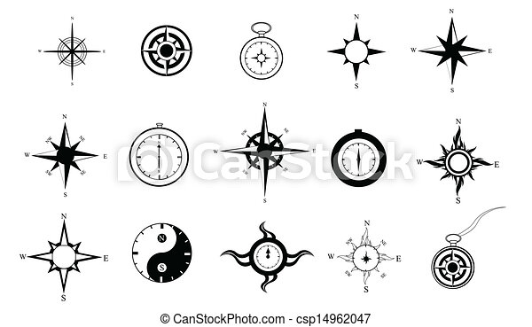 Compass Clipart Set Of 15 Black And White Compasses In Eps