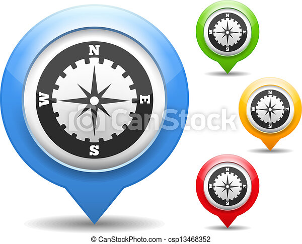 Compass Icon Map Marker With Icon Of A Compass Vector Clipart