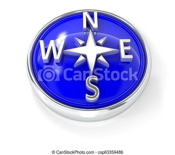 Compass icon on glossy blue round button - csp63359486