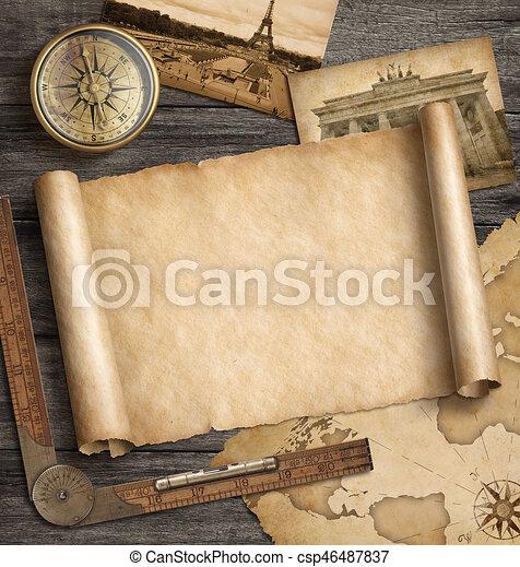 Un viejo fondo de mapa con brújula. Aventura y concepto de viaje. Ilustración 3D. - csp46487837
