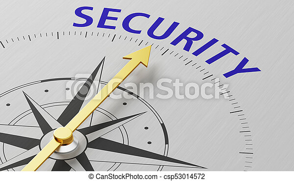 Compass needle pointing to the word Security - csp53014572