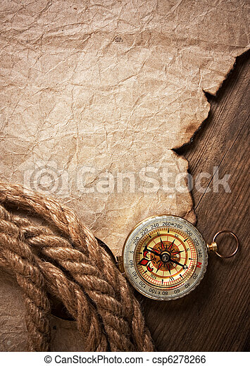 compass, old paper and rope - csp6278266