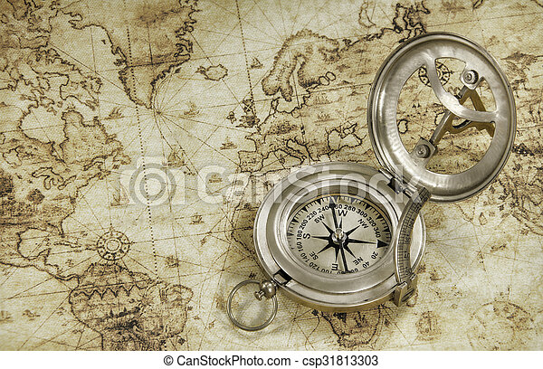 A compass on a old world map compass on a old world map csp31813303 gumiabroncs Images