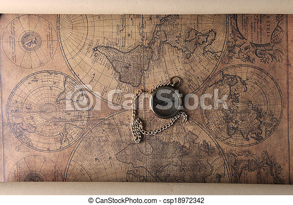 compass on old map - csp18972342