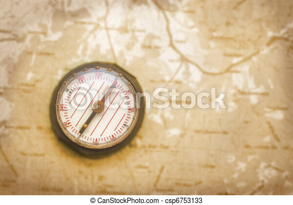 Compass over the old map - csp6753133