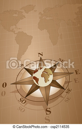 Compass Rose And Map World Map World With Compass Rose With Globe