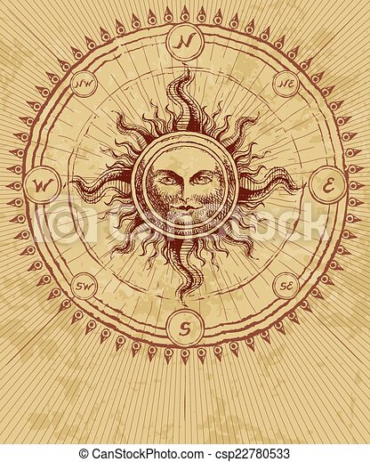 compass rose with sun on grunge background eps8 cmyk organized by