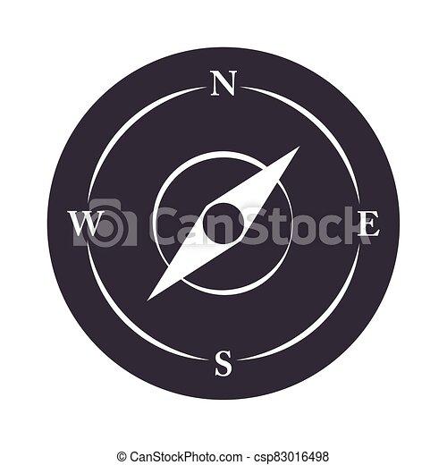 compass rose navigation location equipment silhouette design icon - csp83016498