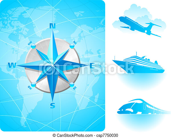 Compass rose on a world map background and contemporary transport - csp7750030