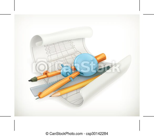 Compass ruler and pencil - csp30142284