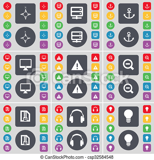 Compass, Server, Anchorr, Monitor, Warning, Magnifying glass, ZI icon symbol. A large set of flat, colored buttons for your design. - csp32584548